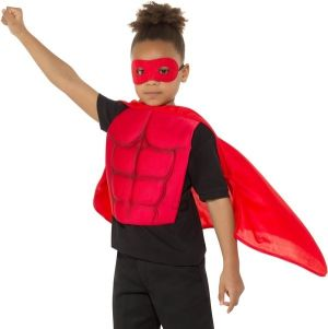 Childs Superhero Cape & Chest Kit - Red