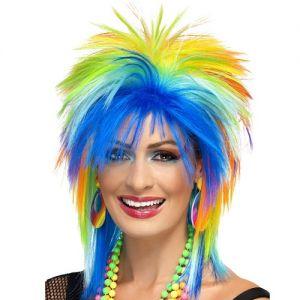 80's Rainbow Punk Fancy Dress Wig