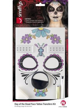 Halloween Day of the Dead Tattoo Transfer Kit