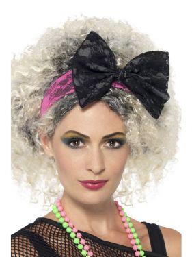 80s Fancy Dress Lace Headband & Bow
