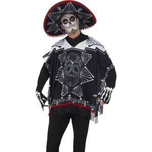 Unisex Mexican Day of the Dead Poncho Bandit Costume