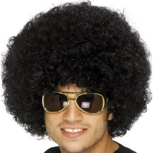 Unisex Funky 1970s Fancy Dress Afro Wig - Black