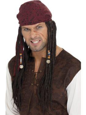 Mens Pirate Fancy Dress Wig & Scarf