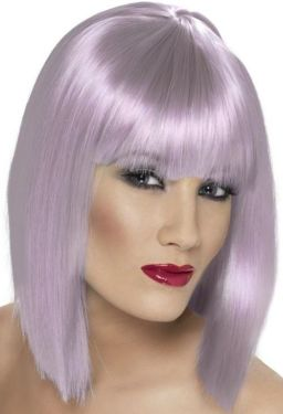 80's Glam Wig with Fringe - Lilac