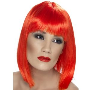 80's Glam Wig with Fringe - Neon Red