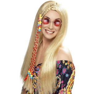 Ladies 60s Hippy Blonde Party Wig
