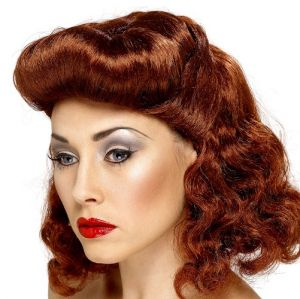 Ladies 40s / 50s Pin Up Girl Fancy Dress Wig - Auburn