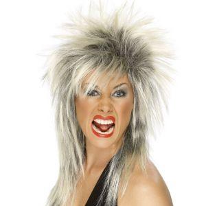 Ladies Rock Diva 80's Fancy Dress Wig Blonde/Black