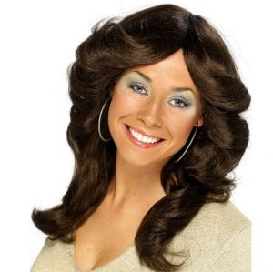 Ladies 70s Long Layered Flick Fancy Dress Wig Brown
