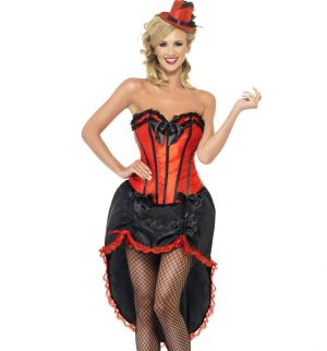Ladies Burlesque Dancer Fancy Dress Costume - Red - S, M or L