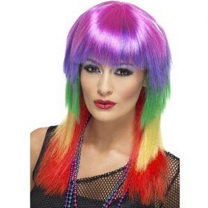 80s Fancy Dress - Rainbow Rocker Wig