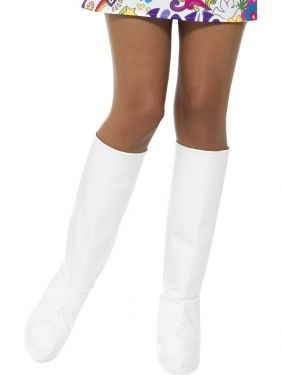 60s 70s Fancy Dress White Go Go Bootcovers