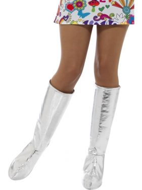 60s 70s Fancy Dress Silver Go Go Bootcovers