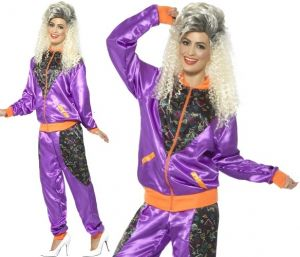 1980s Ladies Retro Purple Shell Suit Costume