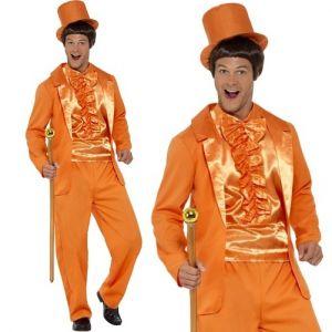 Mens 90s Stupid Guy Tuxedo Costume - Orange