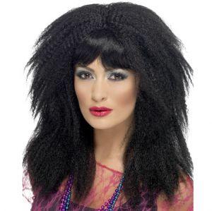 80s Crimp Fancy Dress Wig - Black