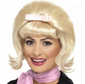 50s Flicked Blonde Beehive Wig