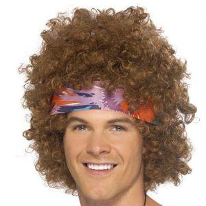 Mens 60s Male Hippy Afro Wig & Headband