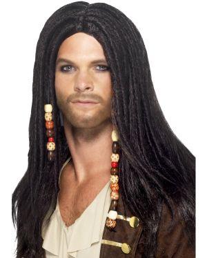 Mens Pirate Fancy Dress Wig