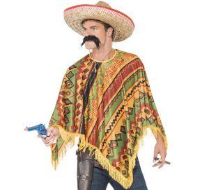 Mexican Fancy Dress Poncho & Tash Set - One Size