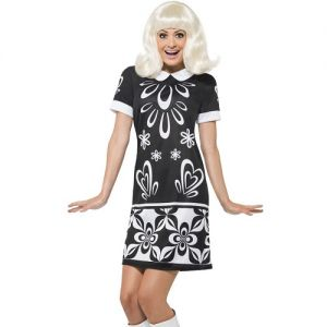 Ladies 60s Monochrome Missy Fancy Dress Costume - S, M & L