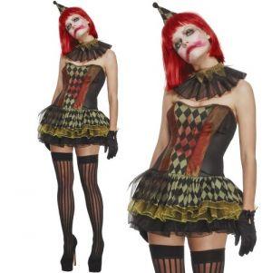 Ladies Halloween Creepy Zombie Clown Costume