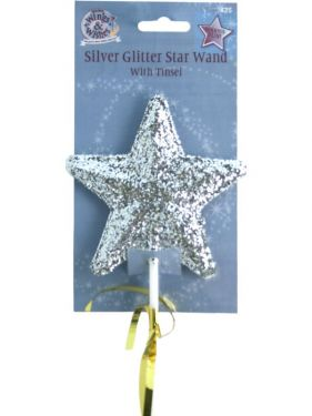 Christmas Fancy Dress Glitter Fairy Wand with Tinsel