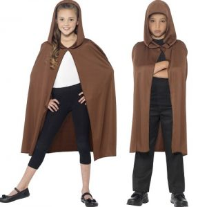 Childrens Hooded Fabric Cape - Brown
