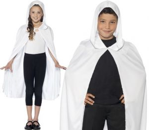 Childrens Hooded Fabric Cape - White