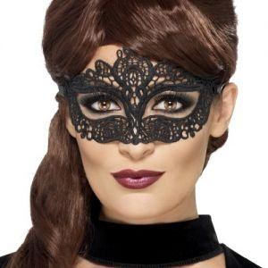 Masquerade Ball Embroidered Lace Filigree Eyemask - Black