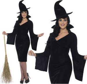 Ladies Halloween Plus Size Curves Witch Costume - L, XL & XXL