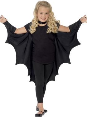 Childrens Batwing Fabric Cape - Black