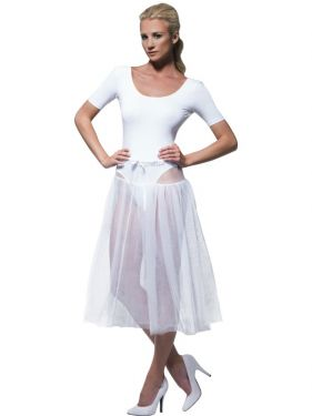 Ladies 1950s Long White Petticoat Underskirt