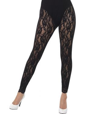 Ladies Lace 80s Fancy Dress Leggings