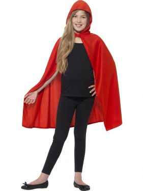 Childrens Hooded Fabric Cape - Red