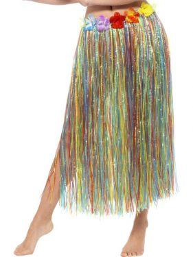 Hawaiian Hula Skirt - Multi with Floral Waist