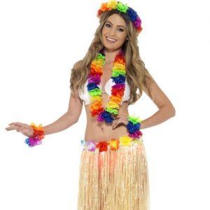 Rainbow Hawaiian Lei Garland Set