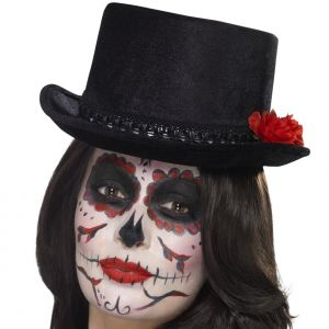 Halloween Day of the Dead Top Hat with Roses