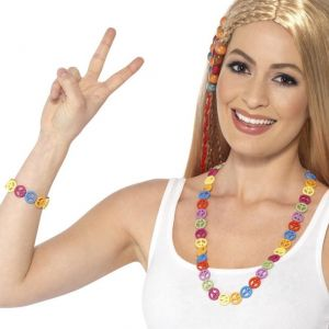 60s Hippy Peace Necklace & Bracelet Set