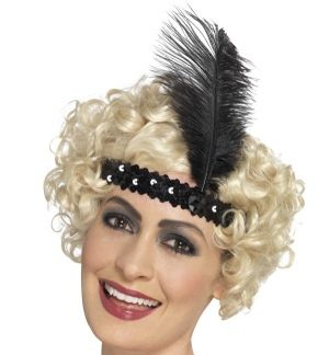 20s Sequin Flapper Headband - Black