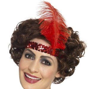 20s Sequin Flapper Headband - Red