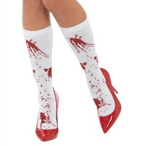 Ladies Halloween Opaque Tights with Blood Stains