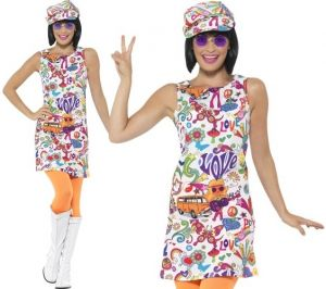 Ladies 60s Groovy Chick Hippy Costume