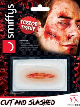 Halloween 3D Horror Wound Transfer Cut & Slashed Make Up by Smiffys