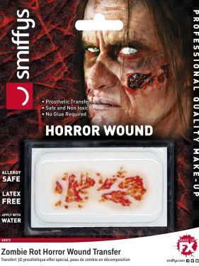 Halloween 3D Horror Wound Transfer Zombie Rot Make Up by Smiffys