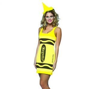 Ladies Fancy Dress - Crayola Crayon Costume - One Size - Neon Yellow