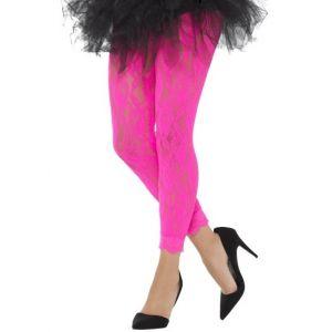 Ladies 80s Fancy Dress Lace Leggings - Pink