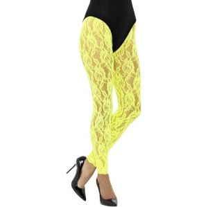 Ladies 80s Fancy Dress Lace Leggings - Yellow