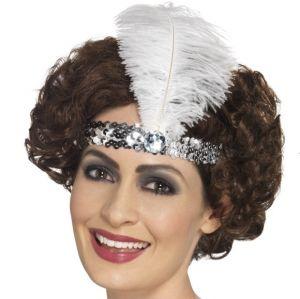 20s Sequin Flapper Headband - Silver