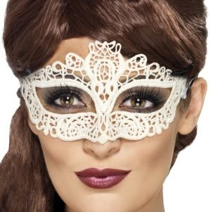 Masquerade Ball Embroidered Lace Filigree Eyemask - White